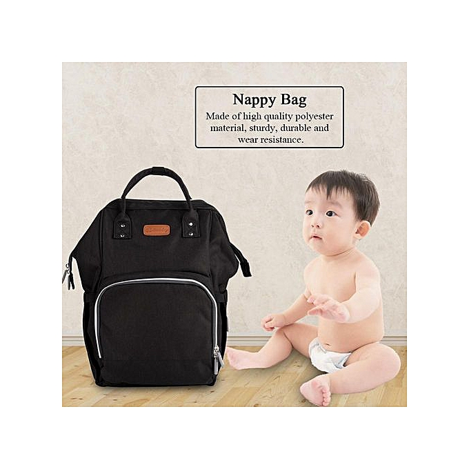 Other Portable Baby Diaper Bag With USB Interface Large Capacity Shoulder Mommy Backpack(noir) à prix pas cher
