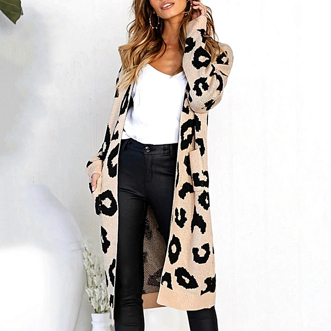 Fashion femmes Knitted Print Long Sleeve Cardigan T-shirt Tops Sweater Coat à prix pas cher
