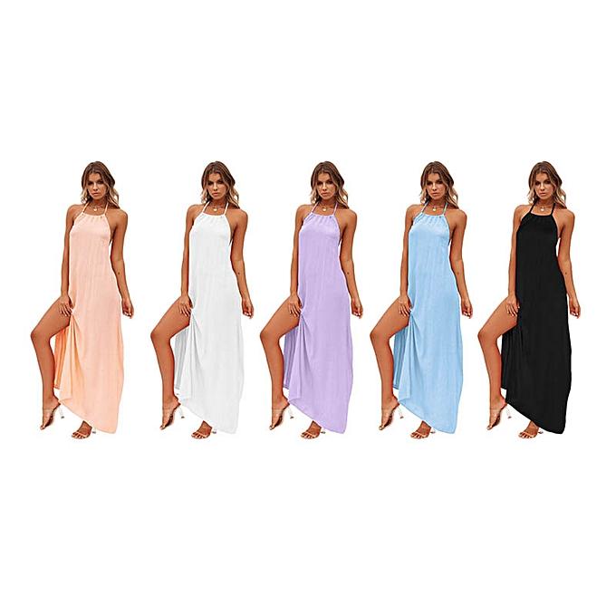 GENERAL femmes Summer Fashion Cotton Boho Long Maxi Dress Split Beach Dress Sexyyy Halter Neck Solid Couleur Backless Dress à prix pas cher