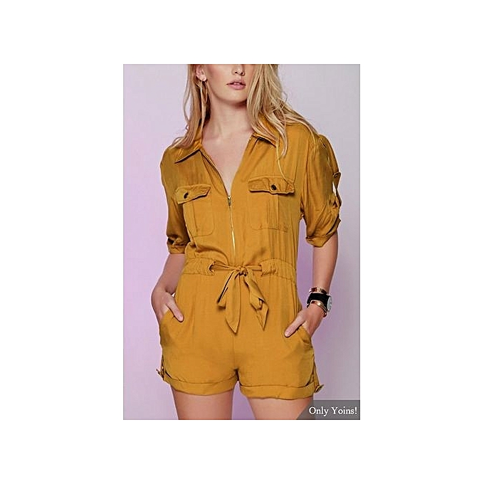 mode YOINS jaune manche courte Drawstbague Brigadier Playsuit With Acute Collar à prix pas cher