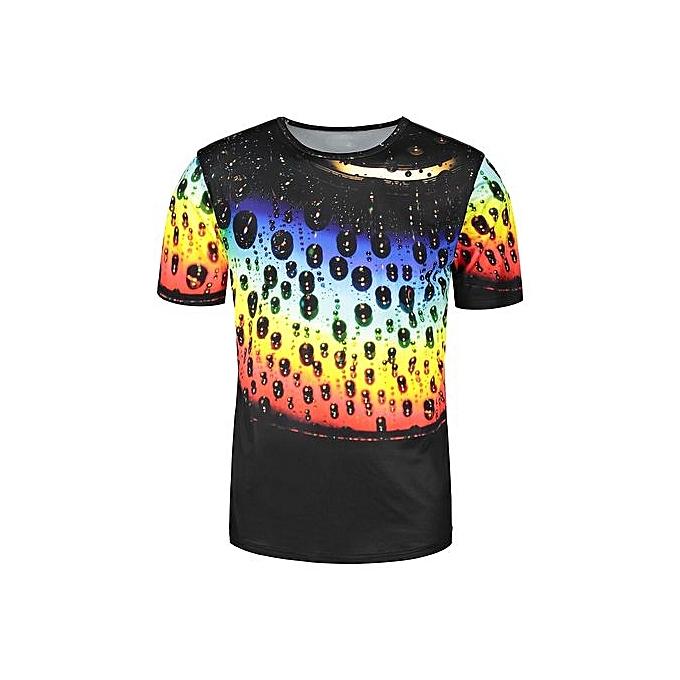 DRESSFO Short Sleeve Couleurful Waterdrip Print T-shirt_CouleurMIX à prix pas cher