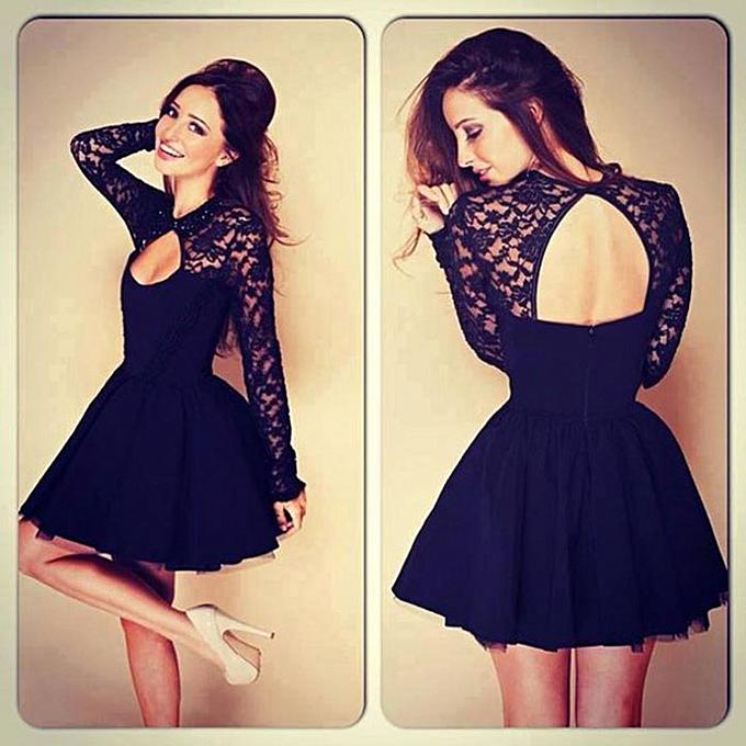 Fashion schoolcool Sexy femmes Floral Long Sleeve Lace Backless Evening Party Mini Dress S à prix pas cher