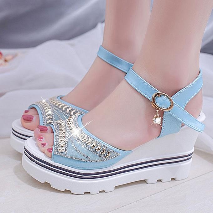 Generic femmes Summer Pumps Platform Sandal Rohomme Wedges Crystal Peep Toe Sandals à prix pas cher    Jumia Maroc