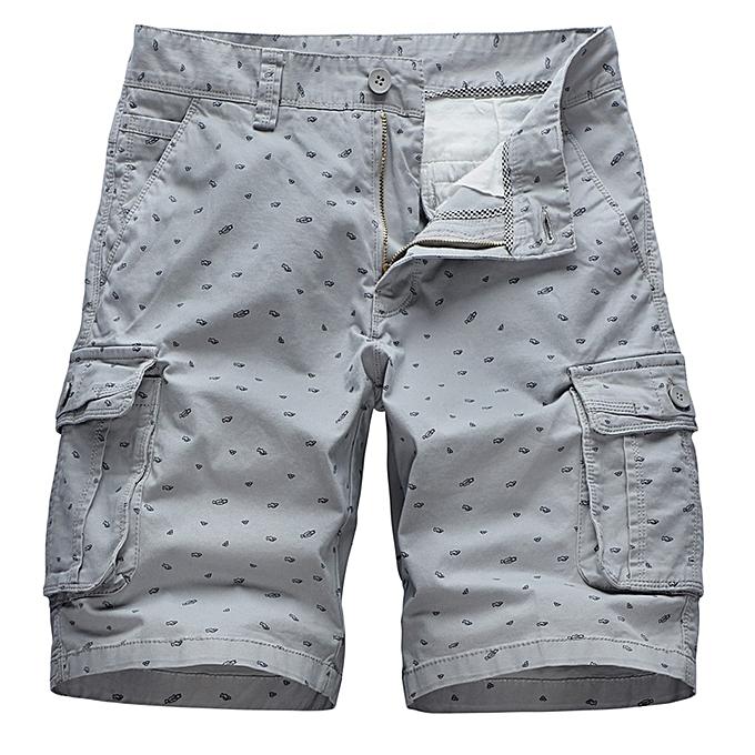 Fashion Men's Summer Outdoor Loose Fit Solid Printing Cargo Shorts Beach Short Pants à prix pas cher