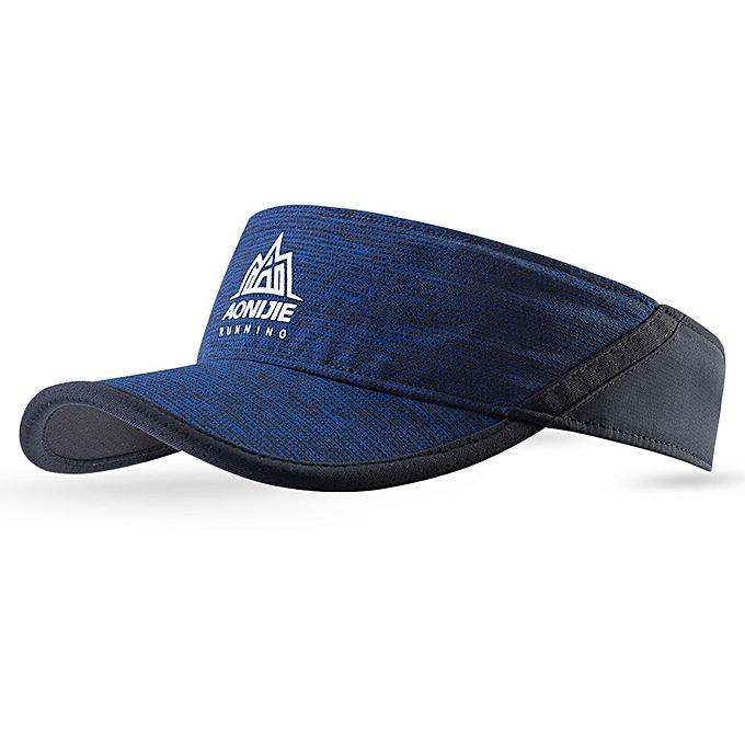 AONIJIE femmes Men Outdoor Running Empty Top Hat Sport Marathon Visor Cap Ultralight Quick Dry Camping Hiking Anti UV Caps(Dark bleu) à prix pas cher