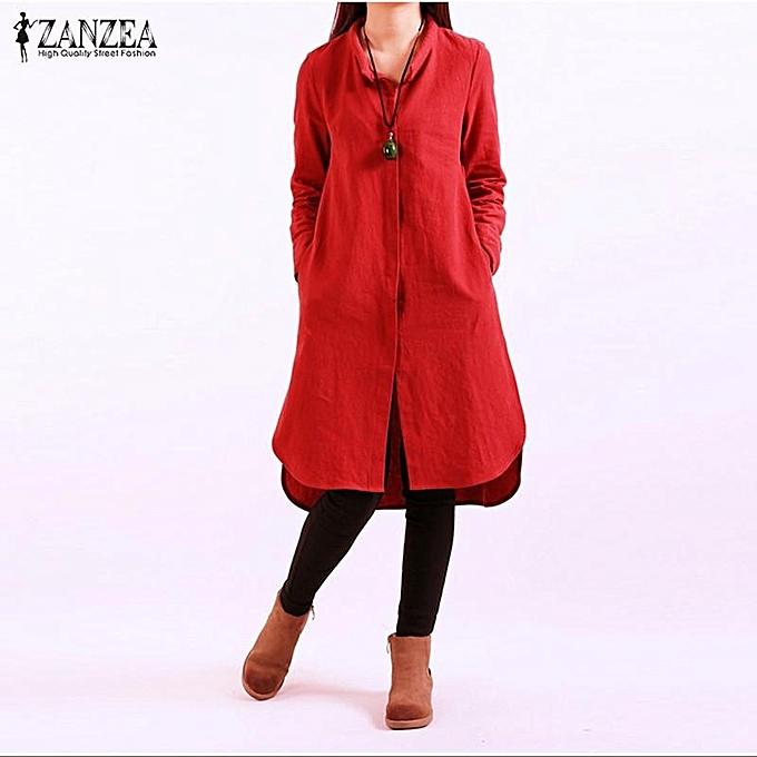Zanzea ZANZEA Autumn Décontracté Loose Vintage femmes Robe manche longue Split Splice Hem Cotton Solid Robees Plus Taille Vestidos (rouge) à prix pas cher
