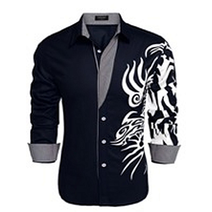 Kokobuy Totems Embroiderouge Suave Shirt Men's Casual Masculine Stylish Long Sleeve à prix pas cher