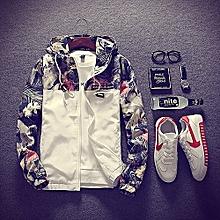 Plus Size Floral Hommes Veste Hip Hop Bomber Slim Fit Fleurs Pilot Coat  Hooded-blanc 692f9a17643