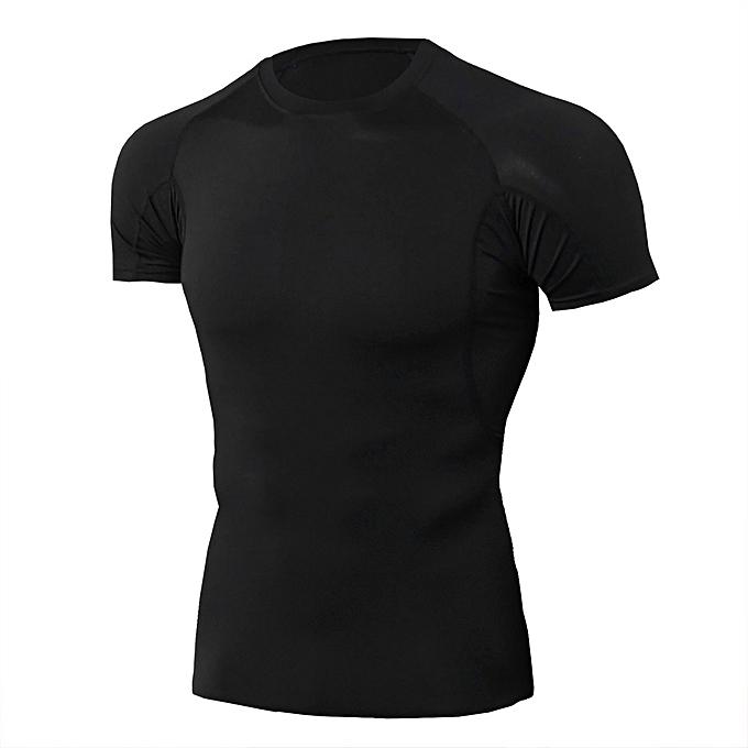 Other Quick Dry Fitness noir Tees de plein air Sport FonctionneHommest T Shirt-TD85 à prix pas cher