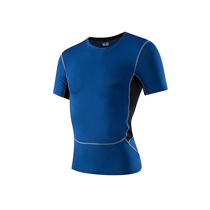 Other Men's  Quick Dry Perspiration Tight Sports Fitness T Shirt -bleu à prix pas cher