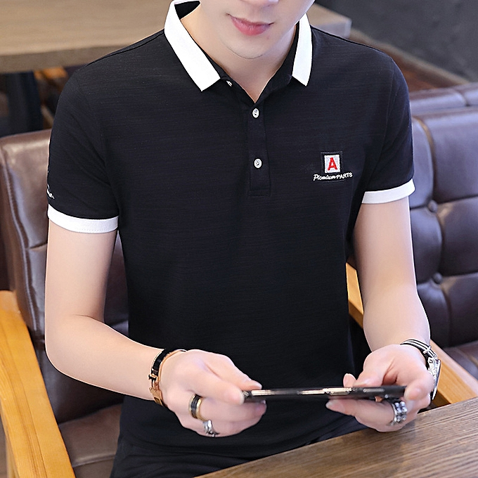 Fashion 2019 new hommes POLO shirt hommes short-sleeved lapel t-shirt Korean version of the trend shirt casual solid Couleur half sleeve summer à prix pas cher