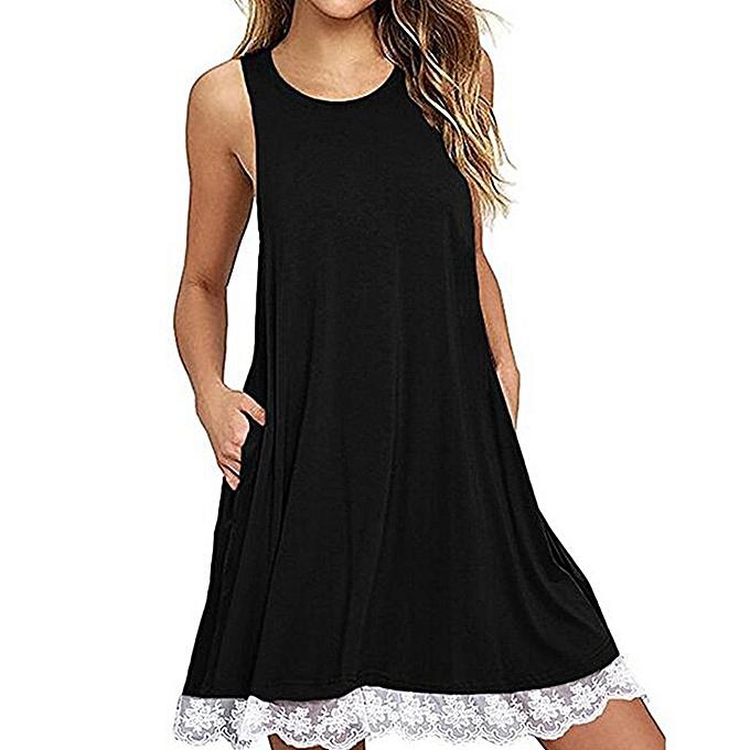 Generic TB Fashion Sleeveless O-neck Summer Lady Dress Elegant Lace Hem Girls-noir à prix pas cher