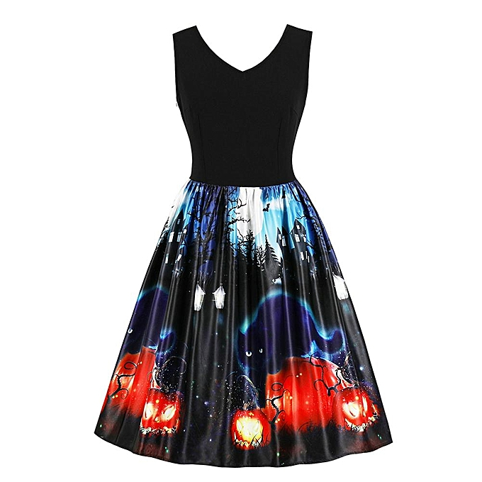 Other Halloween Theme Print Vintage V-neck Sleeveless High Waist Midi Swing Dress à prix pas cher