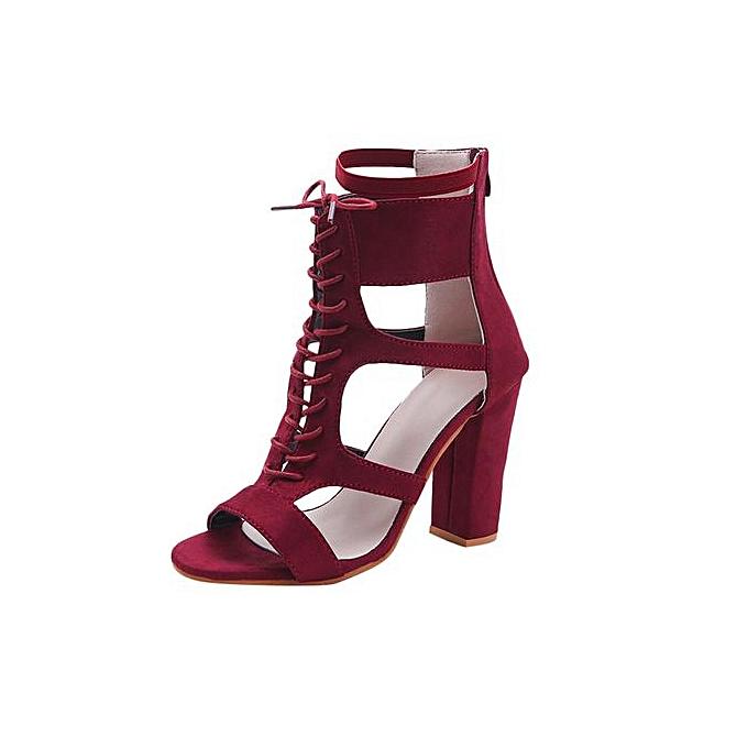 Fashion femmes Ladies Sandals Pointed Toe talons hauts Zip Office Solid Straps Heel chaussures à prix pas cher