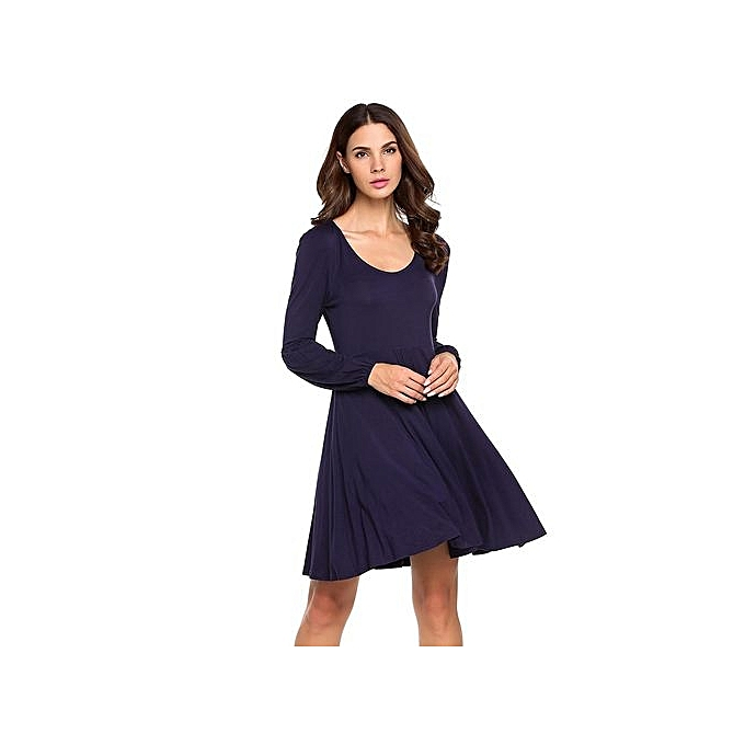 Sunshine femmes Elegant Lantern Long Sleeve A-Line Swing Short Dress-Navy bleu à prix pas cher