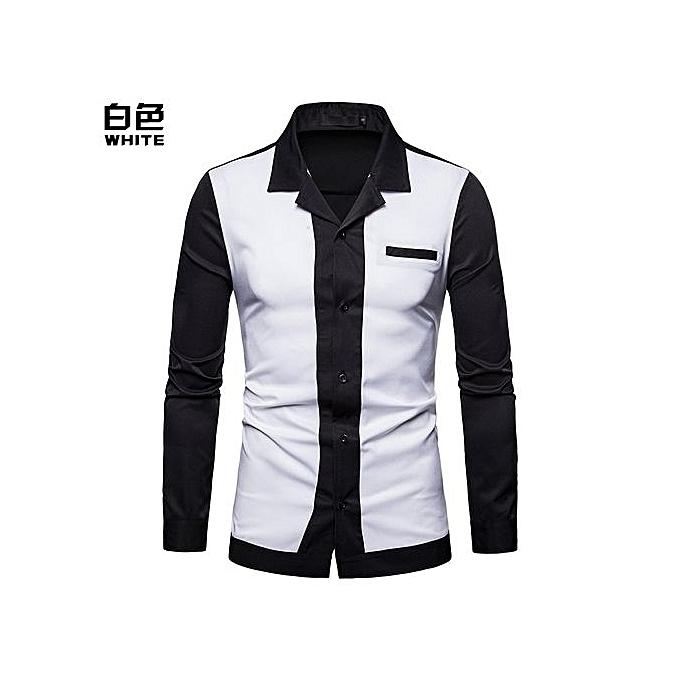 mode Hot Sales  Hommes Shirt Hommes& 039;s Splice Turn-Down Collar Shirt Décontracté Slim Fit Male Shirts mode Hommes& 039;s manche longue Shirts - blanc à prix pas cher