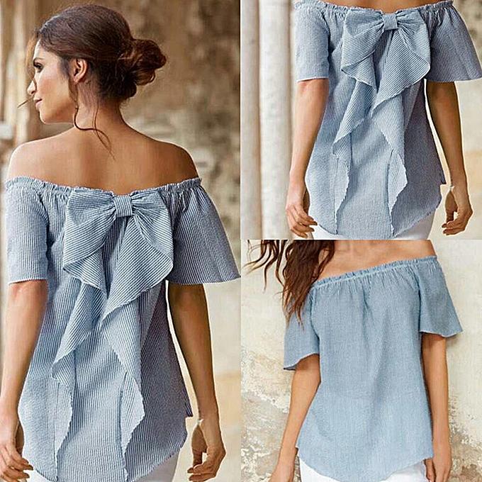mode meibaol store femmes été Décontracté Loose Tee hauts Cold Shoulder rayé chemisier Shirt à prix pas cher