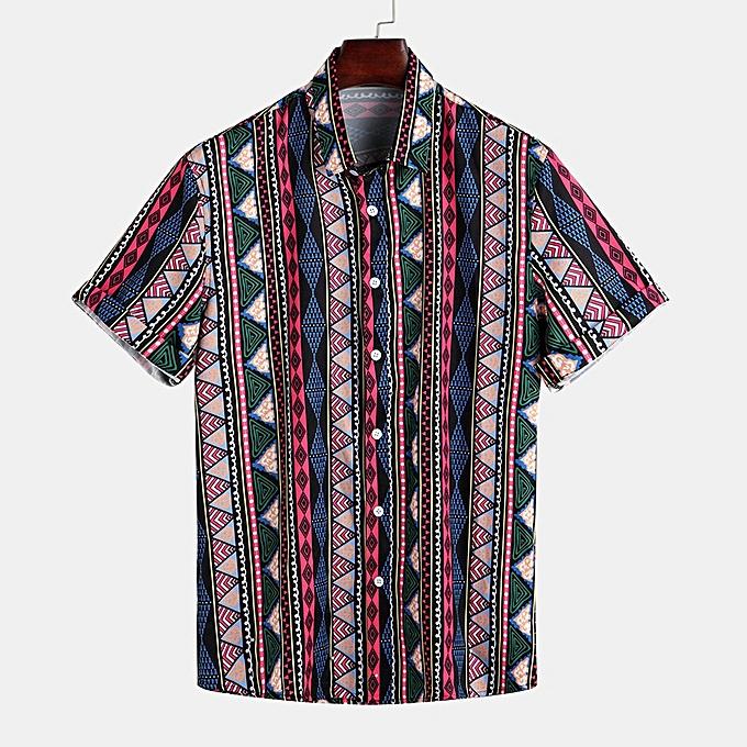 mode jiahsyc store Pour des hommes Ethnic Style Stripe Printed Turndown Collar manche courte Loose Décontracté Shirt à prix pas cher