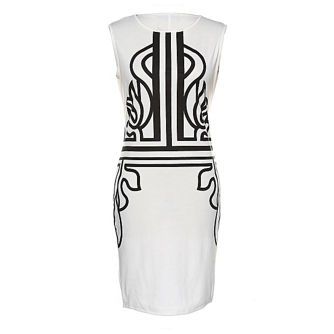 Kenancy Robe fourreau à imprimé vintage pour femme. - blanc à prix pas cher