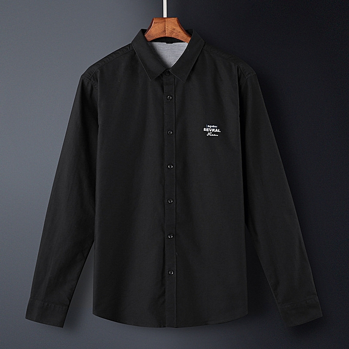 Fashion Men cotton casual shirt-noir à prix pas cher