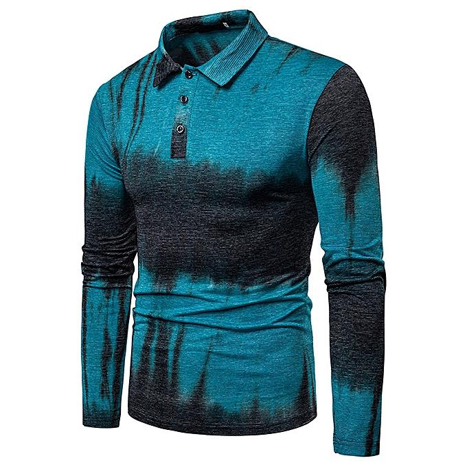 mode nouveau mode classic two-Couleur Couleur body dynamic design Hommes& 039;s lapel long-sleeved polo shirt-bleu à prix pas cher