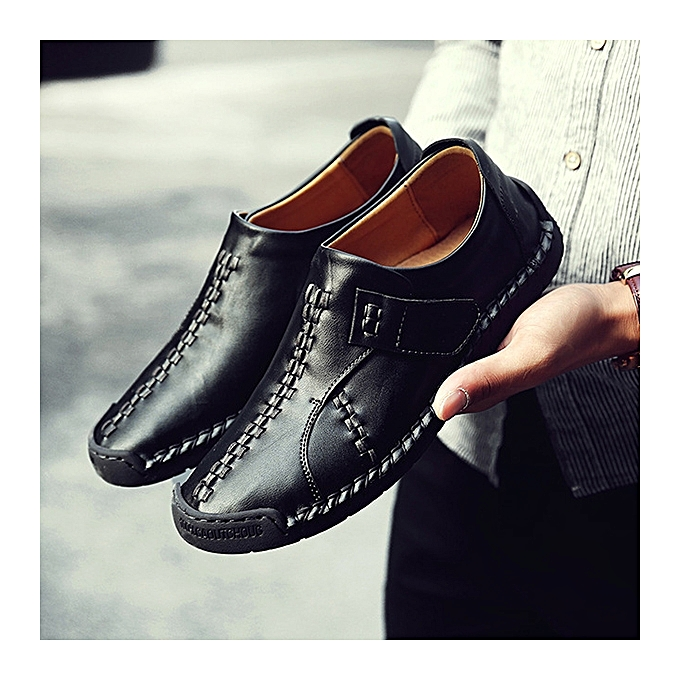 UNIVERSAL  's Vintage Genuine Leather Loafers Casual Hand Stitcing Hook-Loop Casual Loafers Work Shoes à prix pas cher  | Jumia Maroc 7b98e9
