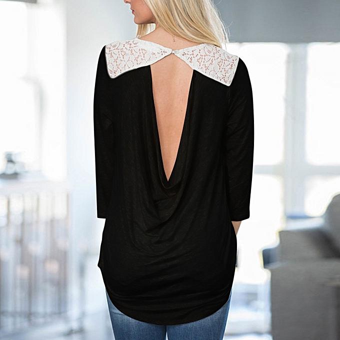 Fashion femmes Loose Long Sleeve Backless Patchwork Lace Tops T-Shirt Blouse   à prix pas cher