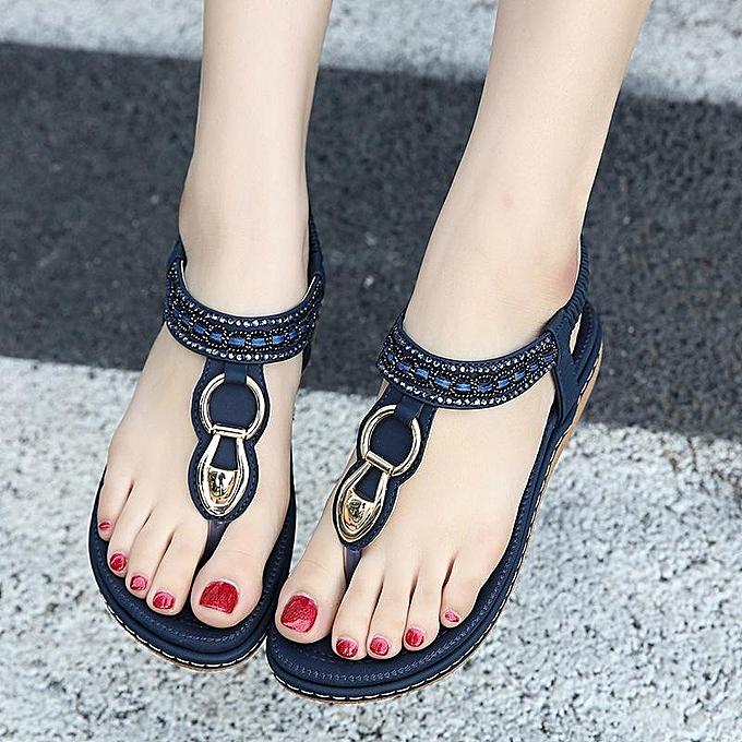 Fashion SOCOFY Fashion femmes Metal Beaded Bohemia Clip Toe Elastic Flat Sandals-EU à prix pas cher
