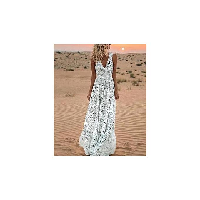 Fashion femmes Polka Sundres Party Sleeveless High Waist Long Dress à prix pas cher