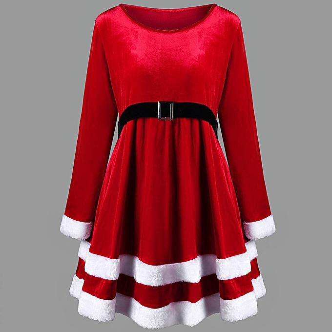 mode quanxinhshang mode femmes Merry Christmas velours manche longue O-Neck rouge Festival Robe à prix pas cher