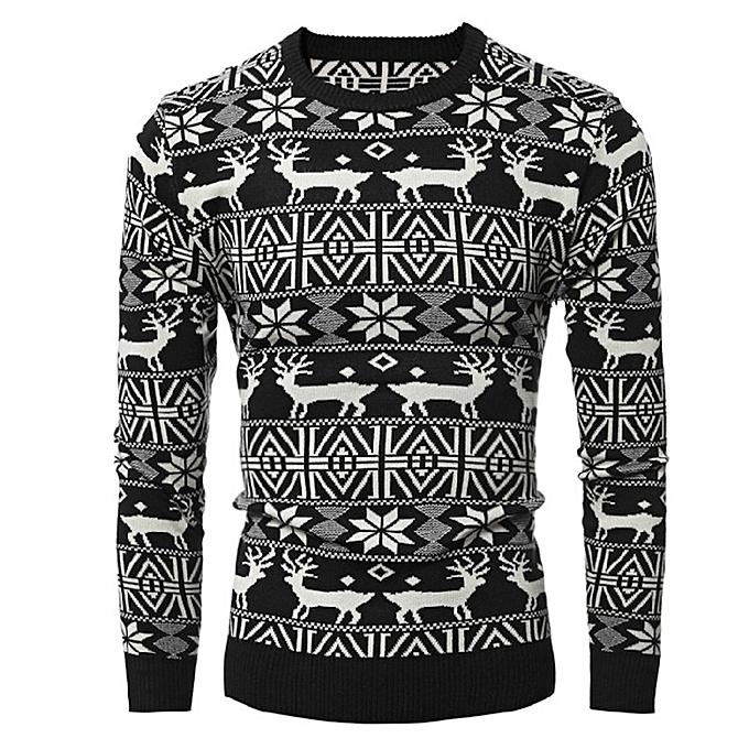mode Pour des hommes& 039; Autumn Winter Christmas Print Knit voituredigan Xmas manche longue chemisier hauts -noir à prix pas cher