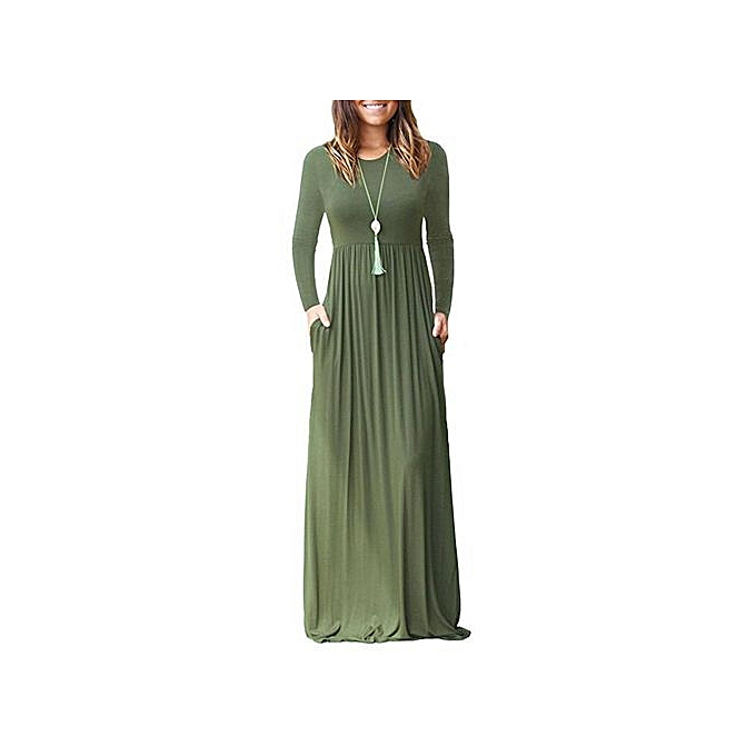 OEM mode femmes& 039;s nouveau long-sleeved pocket Robe Robe-vert à prix pas cher