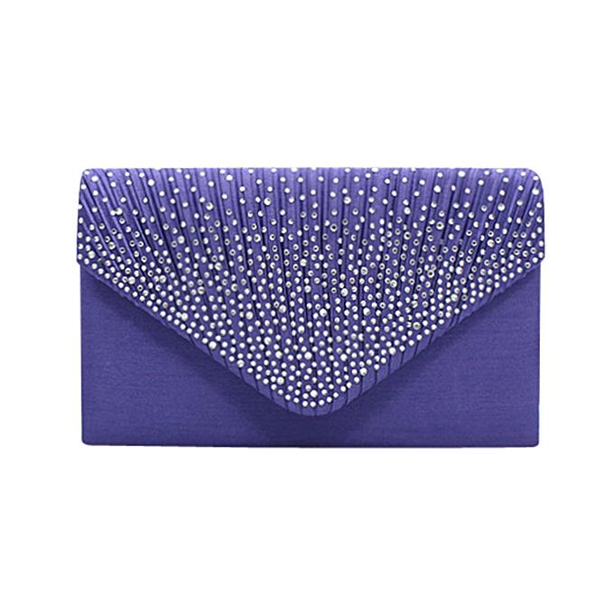 Siketu Ladies Large Evening Satin Bridal Diahommete Ladies Clutch Bag Handbag PP-violet à prix pas cher