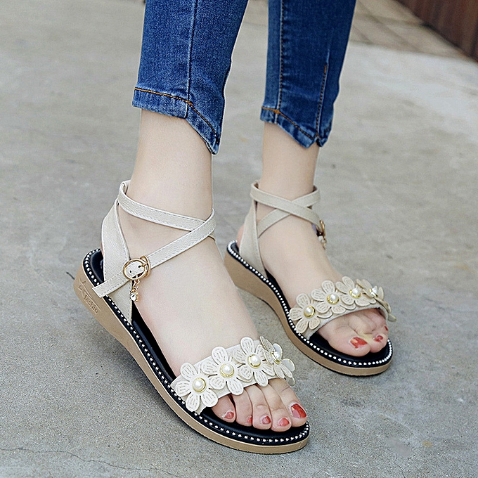 Fashion Hiamok femmes Flower Rhinestone Non-slip Flat Sandals Buckle Cross Straps Rome Sandals à prix pas cher