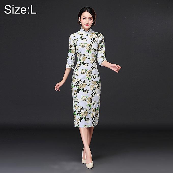 UNIVERSAL femme TemperaHommest mode Magnolia Liliflora Pattern Retro Line Long-style Cheongsam, Taille  L à prix pas cher