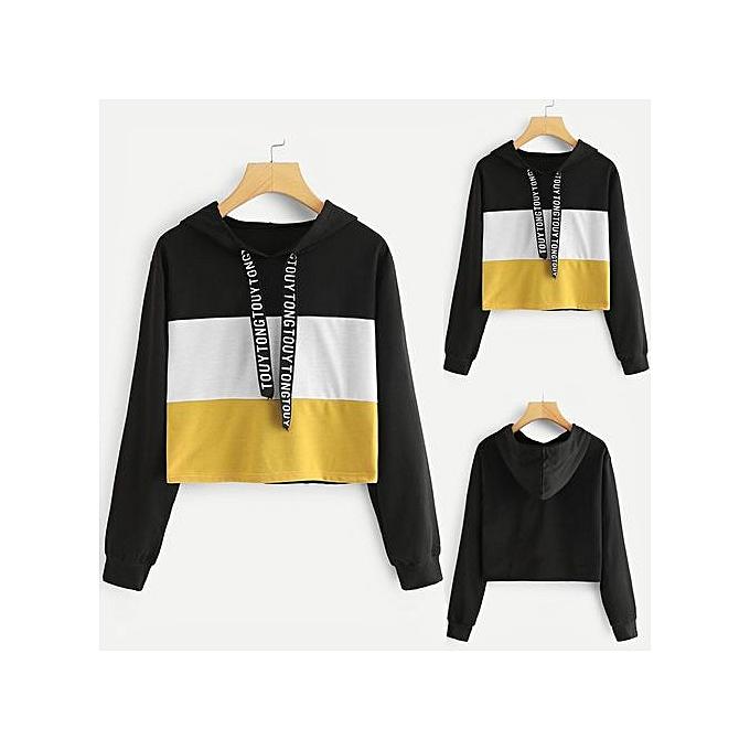 Fashion Tectores Wohommes Long Sleeve Letter Print Tape Drawstring Hoodie Couleurblock Sweatshirt à prix pas cher