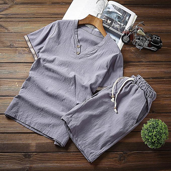 Fashion jiahsyc store Men's Baggy Cotton Linen Soid Couleur Short Sleeve Retro Suit Casual Trousers à prix pas cher