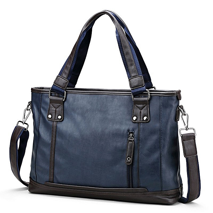 Other MYOSAZEE  Brand Fashion Male Commercial Briefcase PU Leather Bag Business Vintage Travel Casual Men's Messenger Bags Computer(bleu) à prix pas cher