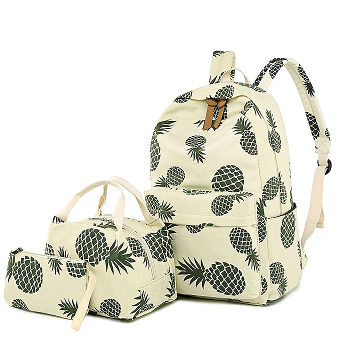 Other mode toile femmes sac à dos Set Fruit Pineapple impression Female School sacpack with Lunch Box sacs Girl Daily Laptop Booksac(jauneish rice) à prix pas cher