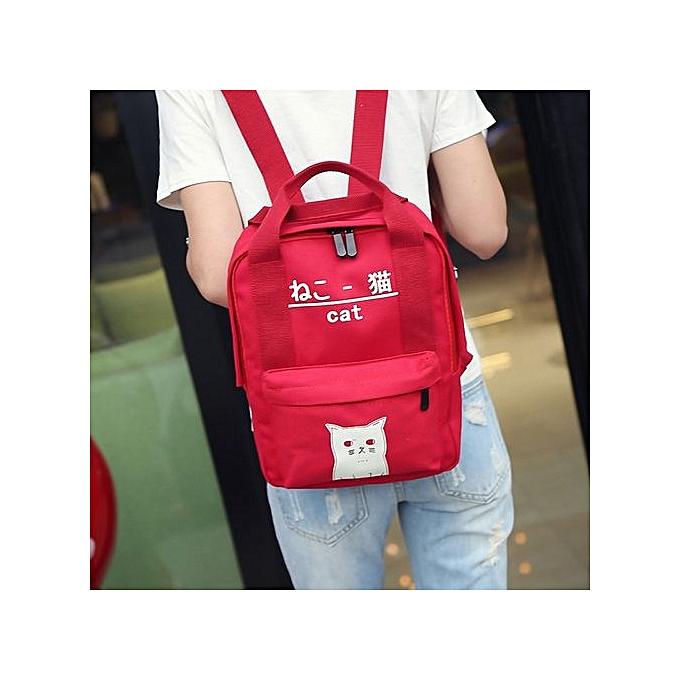 nouveauorldline femmes Teenage Girl Boy Zipper sac à dos School sacs mode Shoulder sac- rouge à prix pas cher