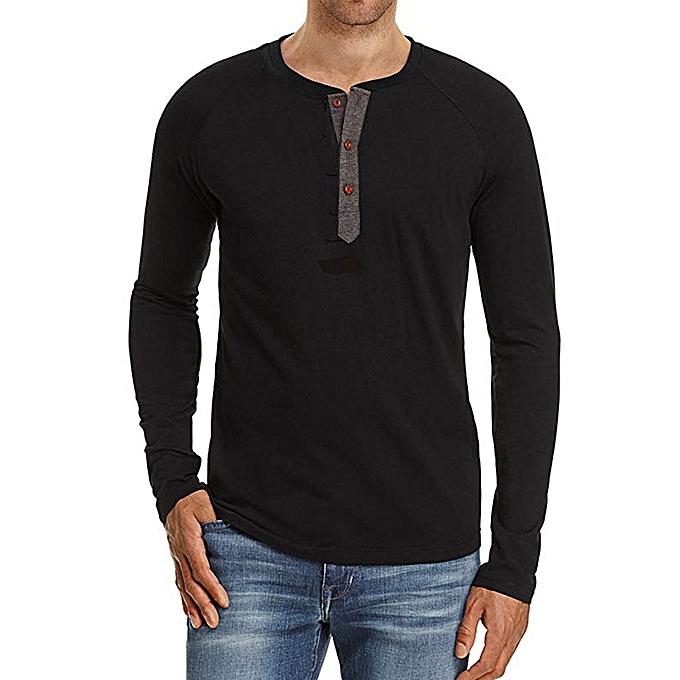 Fashion Fashion Men's Autumn Silm Slim Fit Casual Button Long Sleeve Top Blouse -noir à prix pas cher