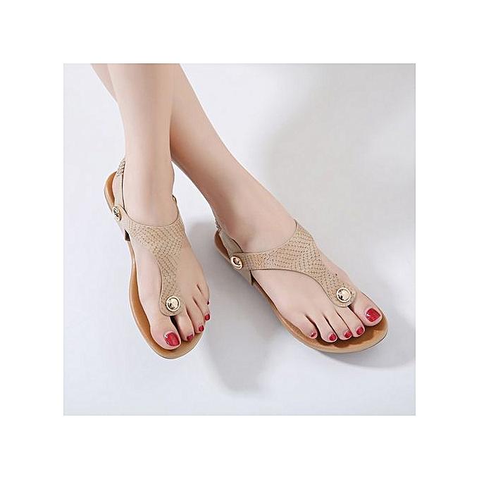 mode nouveau European American femmes Sandals Metal Buckle Pin Toe Flat chaussures Faible Side Air grand Taille chaussures à prix pas cher