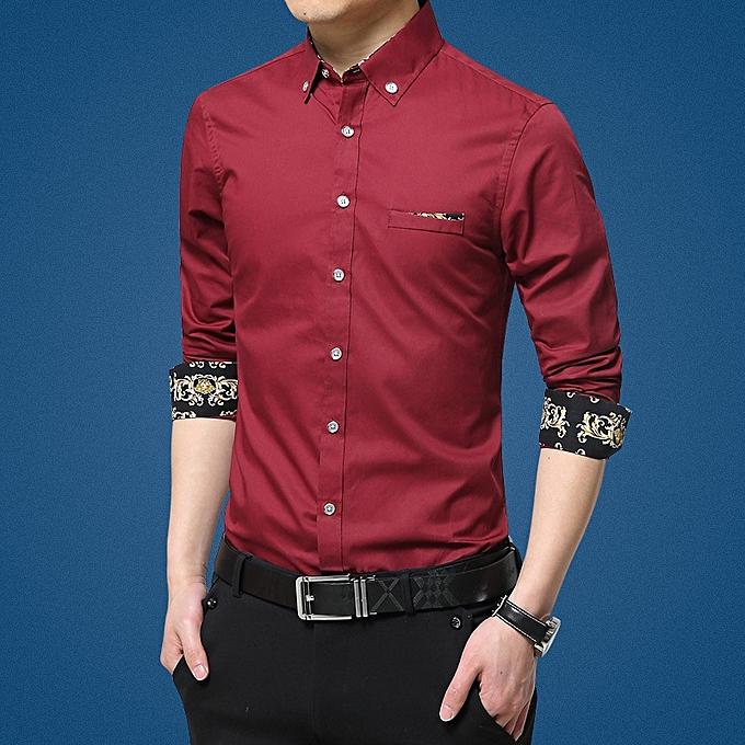 Fashion Autumn New Men's Long Sleeve Shirt Print with Slim Casual Men Shirt à prix pas cher