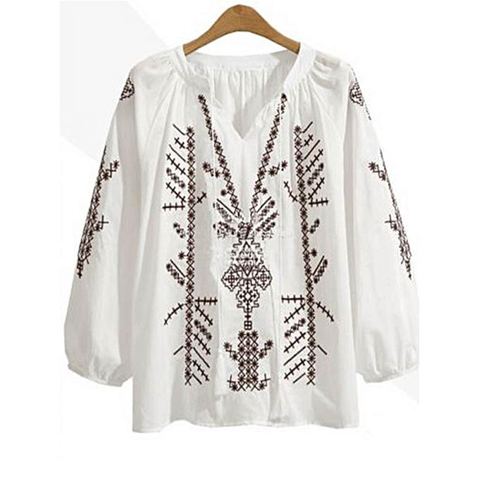 Fashion Vintage femmes Embroiderouge Long Sleeve Lantern Sleeve Patchwork Blouse à prix pas cher