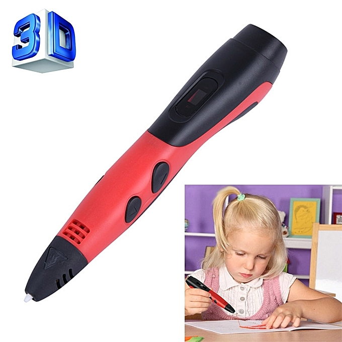 Generic Gen 6th ABS   PLA FilaHommest Enfants DIY Drawing 3D impression Pen with LCD Display(rouge+noir) à prix pas cher