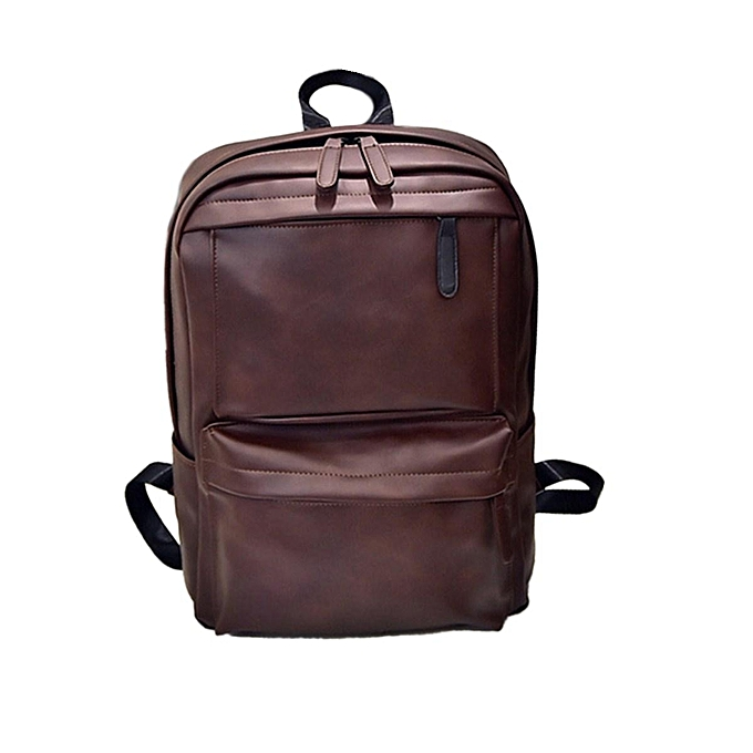 Fashion Vintage Men femmes Leather Backpack Laptop Satchel Travel School Bag Rucksack  marron à prix pas cher
