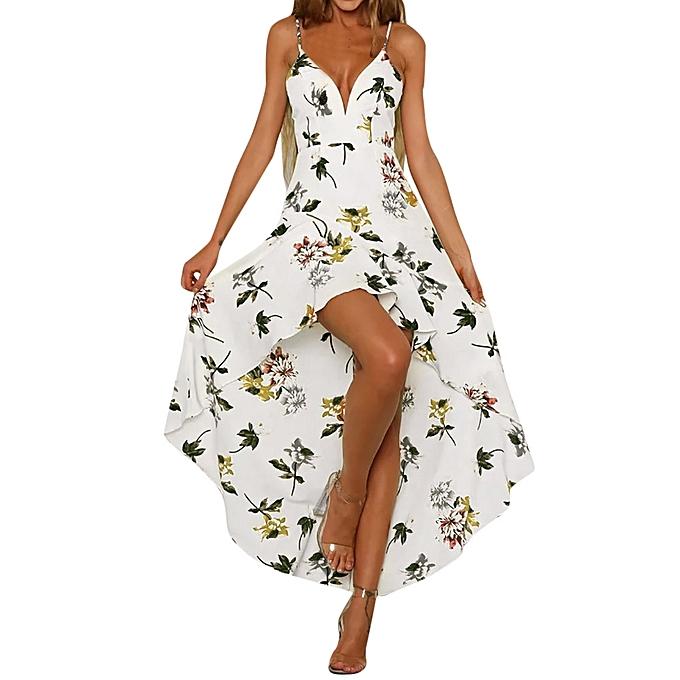 mode Tcetoctre Shop femmes Holiday Plunge Ladies Maxi Long été Floral Print plage Robe WH L à prix pas cher