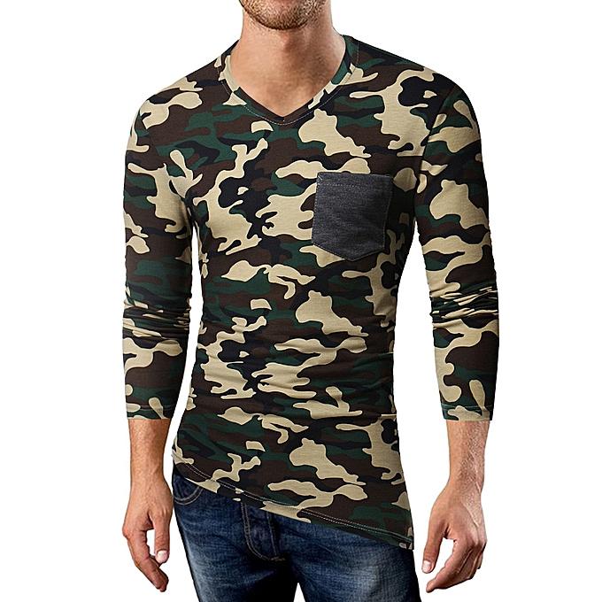 Fashion whiskyky store Men's Autumn Casual Camouflage Patchwork Long Sleeve V-Neck T-shirt Top Blouse à prix pas cher