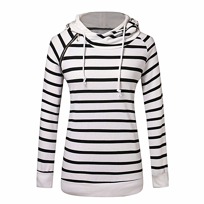 Fashion Hiamok femmes Casual Silm Hooded Striped Long Sleeve Sweater Shirt Tops Blouse WH L à prix pas cher