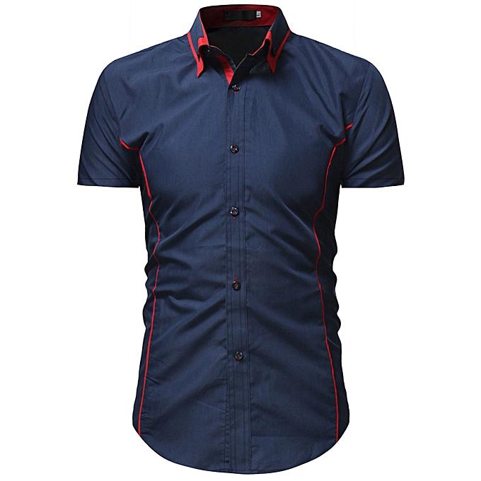 Fashion Men's Solid Casual Button Down Short Sleeve Shirt Top Blouse à prix pas cher